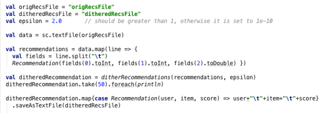 Code Snippet 2: Parsing recommendation input and output, and applying dithering.