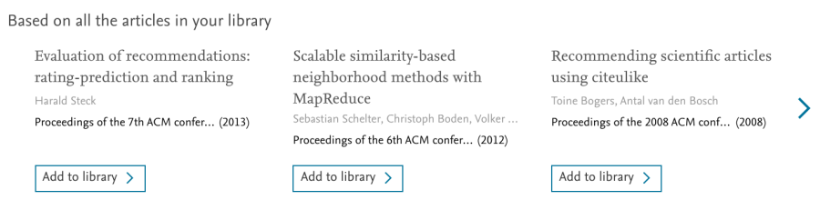 Recommendations based on all articles in your personal Mendeley library
